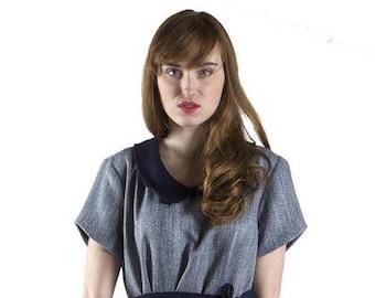 Collared Herringbone Wool Shift Dress