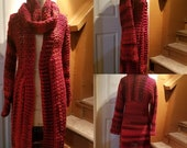 Crochet Sweater - Crochet Duster - Red Sweater with matching Cowl - Red Sweater Coat