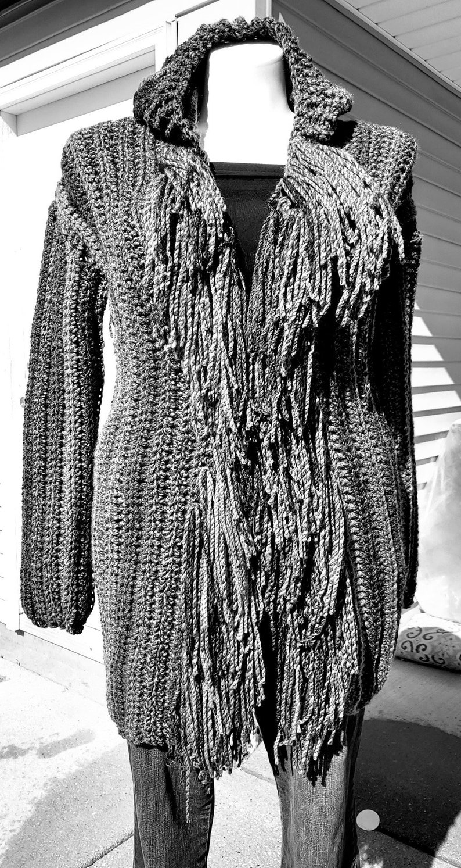 Gray Sweater Crochet Fringed Sweater Hooded Crochet Sweater Gray Sweater Coat