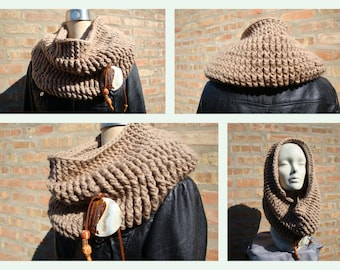 Light brown or Beige Cowl - Crocheted - Handmade - Thick , Warm and Cozy