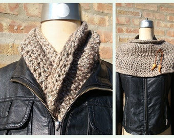 Crochet Brown Blend Cowl / Shoulderette - Warm and Cozy -  Fashionable, fantastic and practical pieces - Ready to ship
