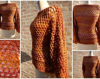 Crochet Pullover - Coverup -  Burnt Orange Blend - Sweater