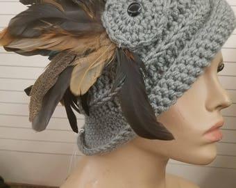 Grey Cloche Hat with Feathers - Grey Crochet Hat - Grey Hat - Crochet Cap