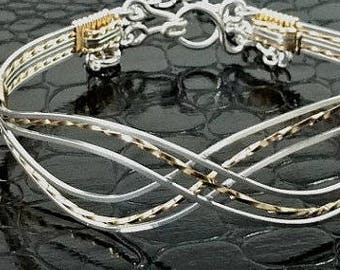 Infinity Bracelet, Sterling Silver and Gold Bracelet, Symbolic Jewelry, Gifts for Her, Wedding or Bridal Jewelry, Made To Order #7779