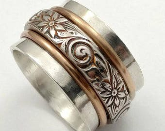 Sterling Spinner Ring with Hammered Sterling and Gold Bands, Commitment Jewelry, Wedding Jewelry, Men's RIngs, Unisex Ring, Made To Order