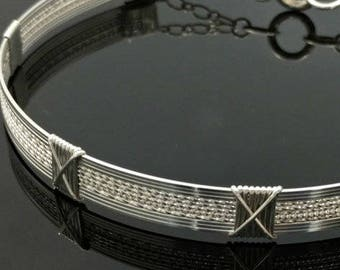 COLLAR, THE X Collar, Wire Wrapped Unisex Collar in Sterling Silver, Choker Style Jewelry, Made To Order