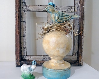 UP-CYCLED - old made new treasure - bird finial - decor - spring - NO110