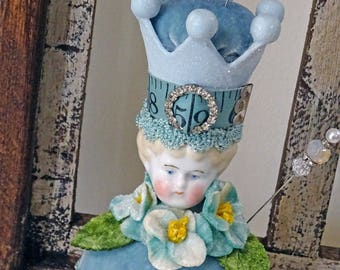 blue pincushion - Antique Charlotte with crown - NO 122
