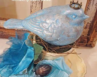 UP-CYCLED - old made new treasure - bird in teacup - decor - spring - NO119