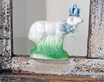 UP-CYCLED - old made new treasure - chalkware lamb - decor - spring - NO115