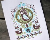 Partridge in a Pear Tree - limited edition letterpress print (green)