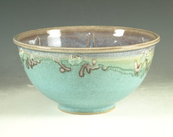 4 cups Stoneware pottery bowl ,  turquoise aqua handmade