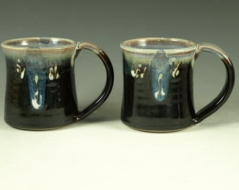 Pair of Small pottery Mugs (12oz) in tenmoku black glaze - great morning coffee mugs