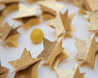 Home decorHome decor, Bridal shower decorations, Gold glitter garland, Wedding starry, Unique gifts, star garland