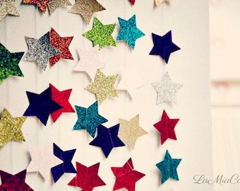 Holiday decor, Christmas clearance, Colorful Christmas, Christmas banner, Glitter garland, Celestial, Star garland, Eco friendly