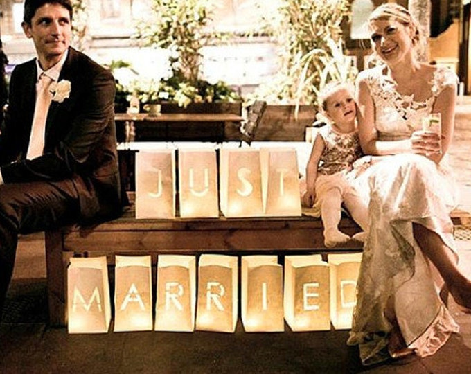 JUST MARRIED, wedding table decor, luminary bags, Just married sign, candle luminary, wedding signs, wedding lanterns,candle bags,luminaries