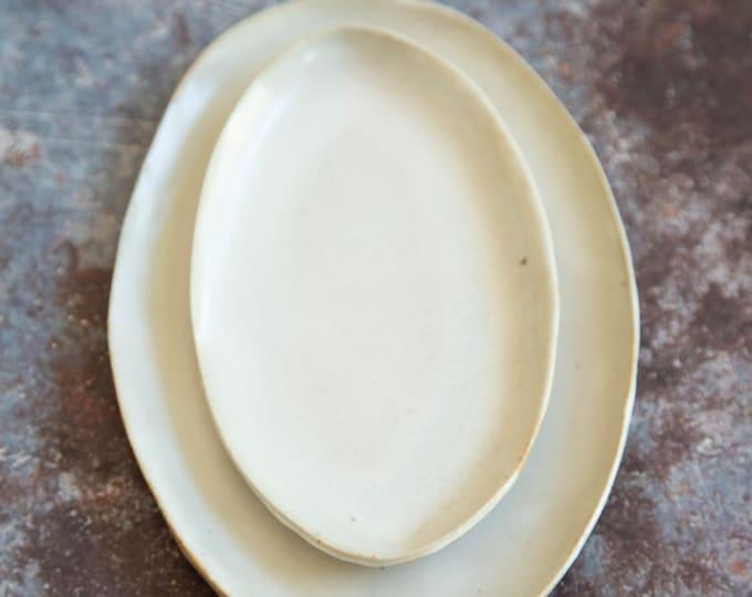 Paul Lowe Ceramics Set Of Two Platters