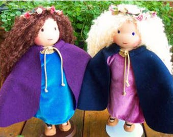 """PATTERN Instant Download Waldorf doll Medieval outfit: Cape , Shoes, Dress and Wreath 13-14"""" dolls"""