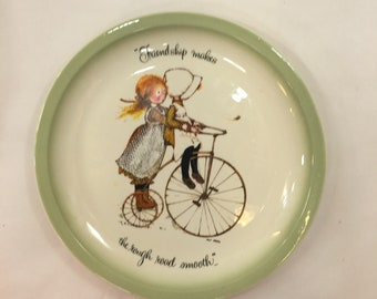 Holly Hobby Decorative plate Friendship makes the rough road smooth 10 1/4 American Greetings Cleveland Ohio edition made USA bicycle girls