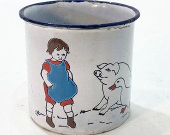 child's baby mug cup antique vintage chippy white red black blue enamel girl with pig goose piggy blue apron