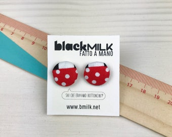 Button earrings Woven red mushrooms on black