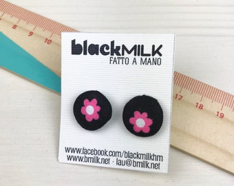 Button Earrings Woven Pink daisies on black