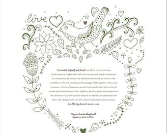 Printable Ketubah Woodland Wedding Marriage Certificate