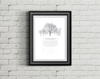 Printable Ketubah Backyard Wedding Trees Marriage Certificate
