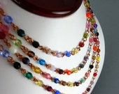 Glass and Copper Extra Long Hippie Diva Necklace -SALE