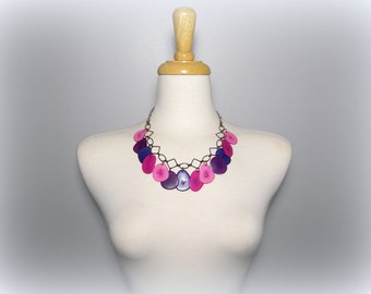 Fuchsia, Pink, Grape, and Plum Tagua Nut Eco Friendly Bib Statement Necklace with Free USA Shipping#taguanut #ecofriendlyjewelry