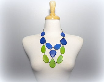 Eco Friendly Tagua Bib Necklace in Blue and Green with Free USA Shipping #taguanut #ecofriendlyjewelry