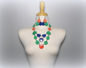 Festive Orange, Blue, and Green Tagua Nut Eco Friendly Bib Statement Necklace and Matching Earrings with Free USA Shipping #taguanut #eco