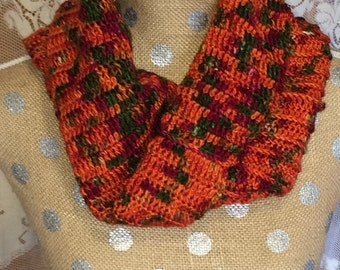 Autumn Orange Handcrocheted Cowl Neckwarmer