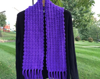 SALE - Purple Crocheted Fringed Scarf
