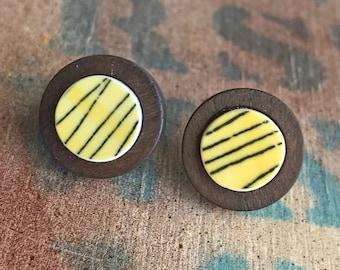Broken Dishware Earrings, Yellow & Black, Wood Bezel