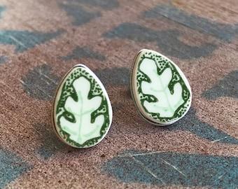 Broken Dishware Earrings, Midcentury Mod Leaf Teardrops