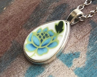 Broken Dishware Necklace, Blue Flower Teardop