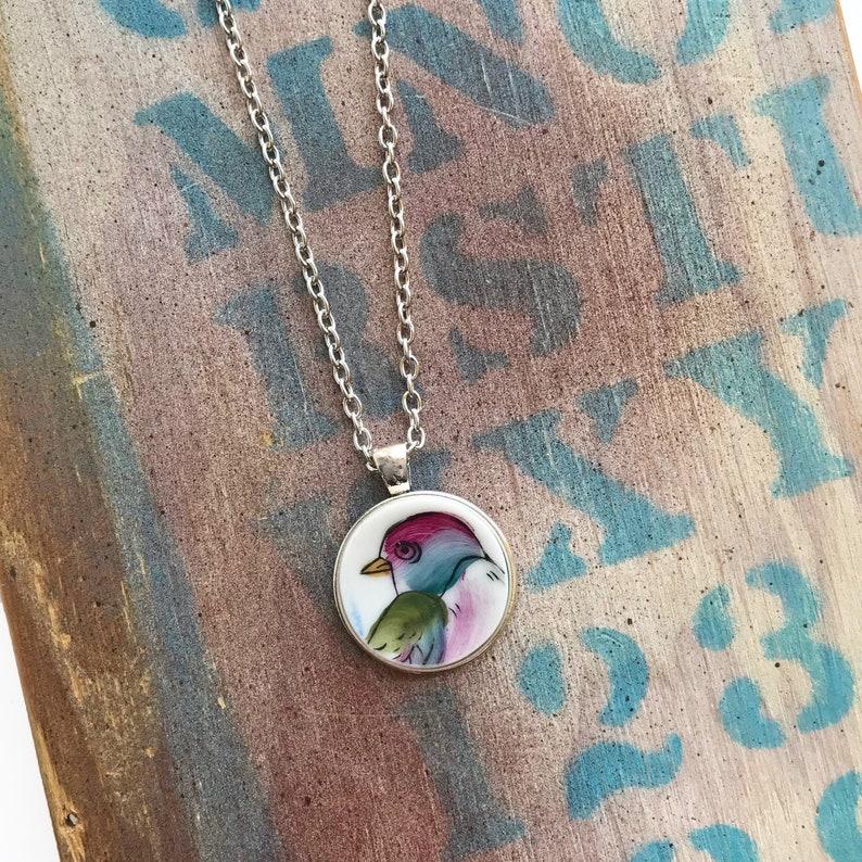 Multicolor Bird Broken Dishware Necklace
