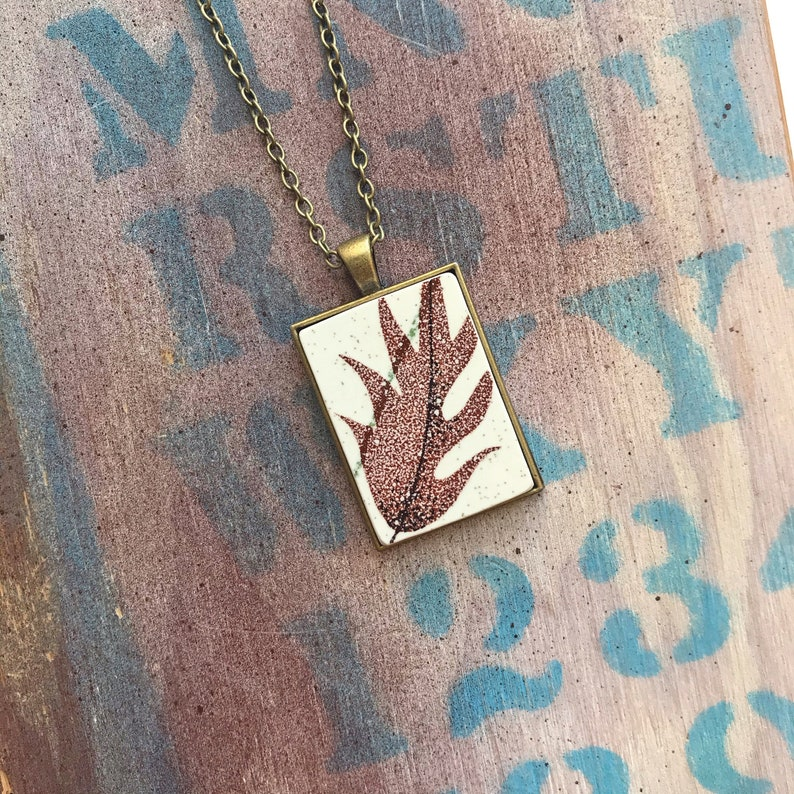 Broken Dishware Necklace Mid-Century Modern Leaf