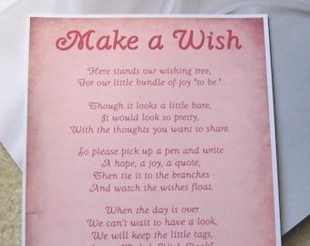 Wishing Tree Tags Instructions Sign - Baby Shower - Newborn - Bundle of Joy - Pink - Blue - Yellow - Purple