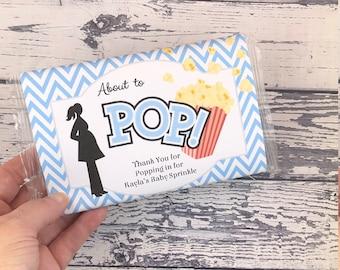 Popcorn Wrapper - Baby Shower BOY - Microwave Popcorn Sleeve - Favor Thank You - Ready to Pop