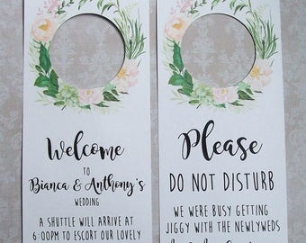 Hotel Door Hangers - RUSTIC BOHO Greens and Blush Pink - Double Sided for Out of Town Wedding Guests - Do Not Disturb - Flowers - Floral