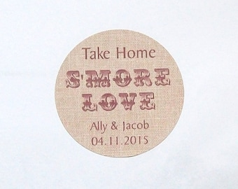 S'More Favor Labels - BURLAP Look - Round Stickers - Personalized Labels RUSTIC - You Choose the Size