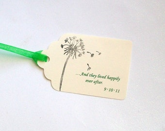 Wedding Wishing Tree Tags - And they lived happily ever after with Event Date and Dandelion (set of 50)