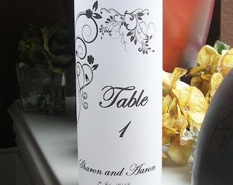 Vellum Luminarie Lantern Table Number - Personalized with Vining Hearts - Luminaria - Lantern