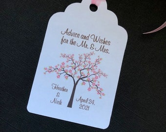Wedding Wishing Tree Tags With Cherry Blossoms - Full Tree - Spring Tree - Asian Inspired Blossom (set of 50)