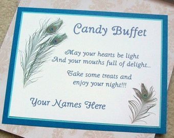 Candy Buffet - Sweets Table - Instructions Sign - Customize For Your Event - Three Layers - Peacock Feathers