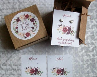 Will You Be My Bridesmaid Favor Kits, Maid of Honor Gift Box, I Cant Say I Do Without You RUSTIC Burgundy and Cream BOHO - Flowers