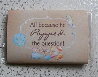 Popcorn Wrapper - BEACH - Wedding - Microwave Popcorn Sleeve - Favor - Welcome Gift - Hotel Guest - Nautical - Sea - Ocean