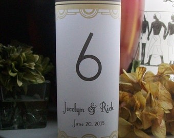 Art Deco Vellum Luminarie Table Numbers - Wedding Signs - Luminary - Luminaria - Lantern -  Great Gatsby - Black and Gold